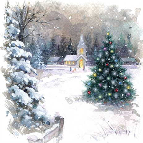 Ling 6 Pack Charity Christmas Cards - Village Hall Scene - 13.5cm (X12140RCJP)