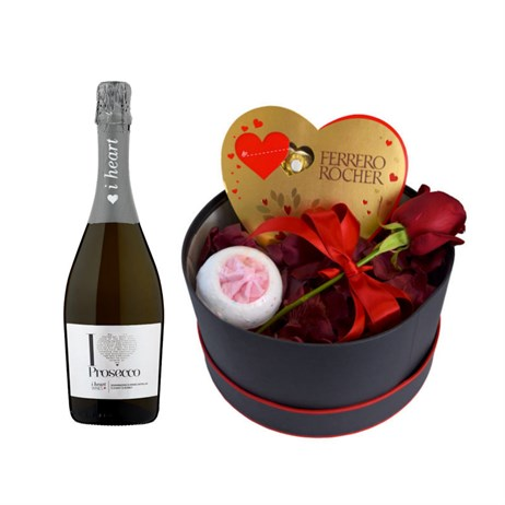 A Single Red Rose Valentine's Day Gift Box + Additional Prosecco Offer