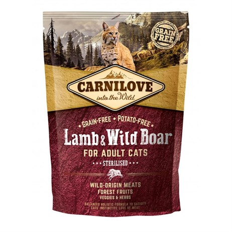 Carnilove Lamb & Wild Boar Cat Food for Adult Cats - Sterilised 400g (512324)