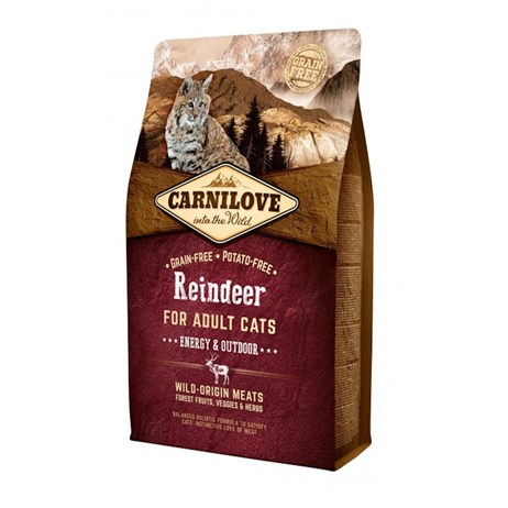 Carnilove Reindeer Cat Food for Adult Cats - Energy & Outdoor 2kg (512256)