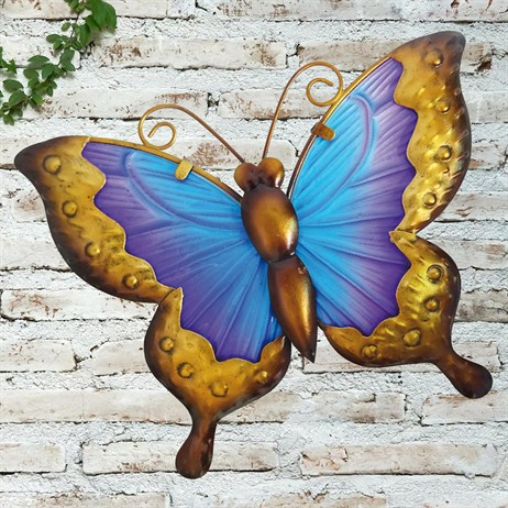 Creekwood Butterfly Glass Wall Art - Blue/Purple - 25cm (48023)