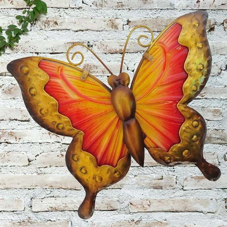 Creekwood Butterfly Glass Wall Art - Yellow/Red - 25cm (48022)