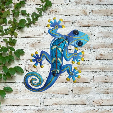 Creekwood Gecko Glass Wall Art - Blue - 21cm (48030)