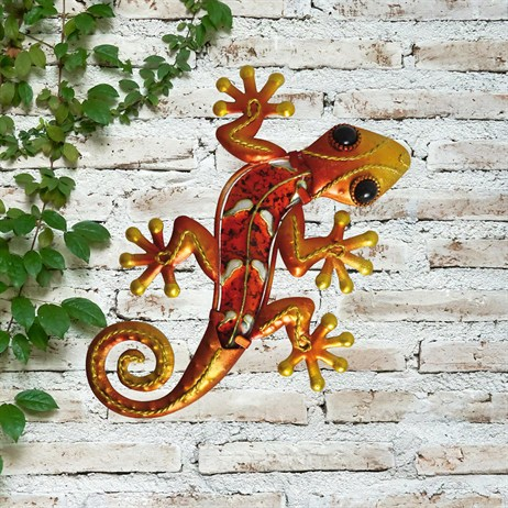 Creekwood Gecko Glass Wall Art - Orange - 21cm (48031)