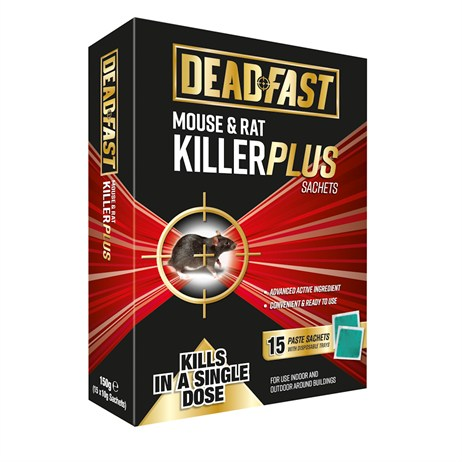Deadfast Mouse and Rat Killer Plus Poison - Pack of 15 Sachets (20300393)
