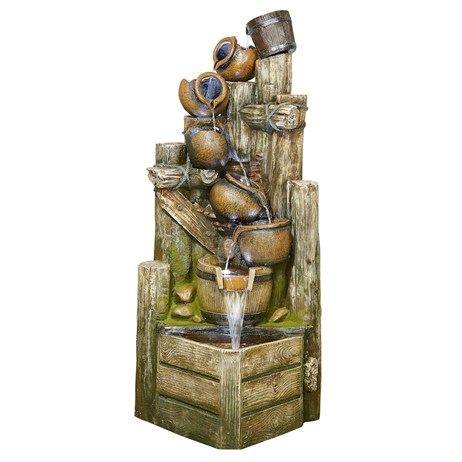 DIRECT DISPATCH Easy Fountain Aztec Spilling Bowls Water Feature with LEDs (45148L)