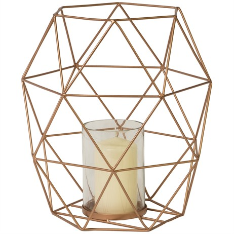 Direct Dispatch Ivyline Geometric Hurricane Lantern Copper 28Cm (WFGHLC28)
