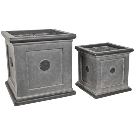 Direct Dispatch Ivyline Grey Elite Square Pots Set Of 2 (965225)