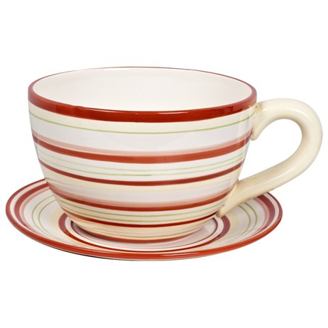 Direct Dispatch Ivyline Large Teacup Red Stripe Colour Gift Box (WFLRGTCRS)
