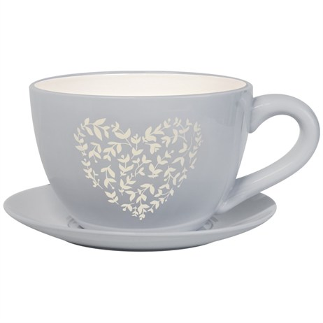 Direct Dispatch Ivyline Vintage Heart Large Teacup Soft Grey (WFVHTC25SG)