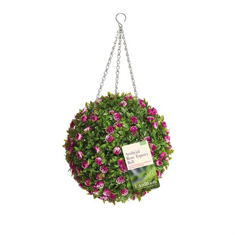 Eden Bloom Artificial Topiary Ball - Rose Effect - 30cm (02956)
