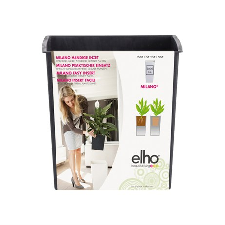 Elho Milano Easy Insert Plant Pot - 30cm - Living Black (8365503043301)