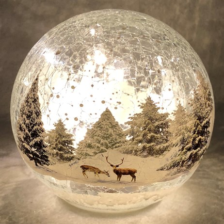 Festive 15cm Battery Operated Light Up Christmas Crackle Effect Forest Scene Ball (P024822)