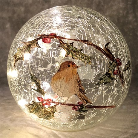 Festive 15cm Battery Operated Light Up Christmas Crackle Effect Robin Ball (P024826)