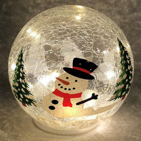 Festive 15cm Battery Operated Light Up Christmas Crackle Effect Snowman Ball (P024818)