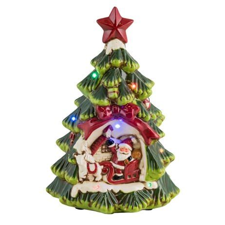 Fountasia Christmas Ceramic Christmas Tree with LED Lights & Music - Small