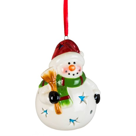 Fountasia Christmas Tree Hanging Ceramic Round Snowman LED Decoration (78170)