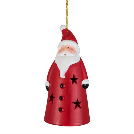 Fountasia Christmas Tree Hanging Ceramic Straight Santa LED Decoration (78171)