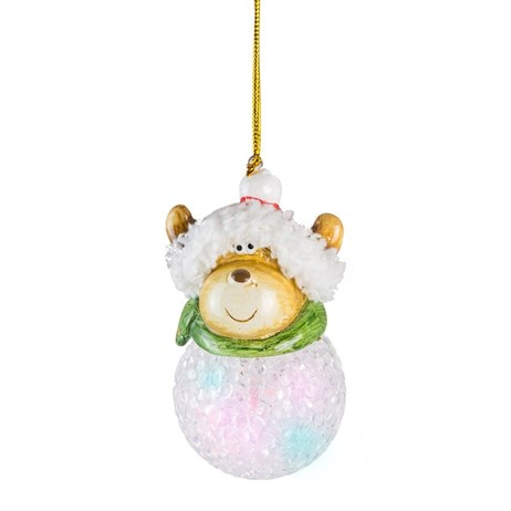 Fountasia Christmas Tree Hanging Snowballs With Coloured Reindeer Decoration (77357)