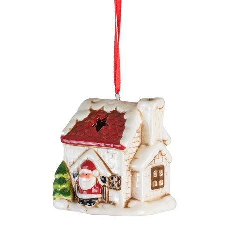Fountasia Christmas Tree LED Hanging White Houses Decoration - Santa (77359)