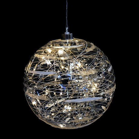 Fountasia Christmas Magical Hanging Silver Ball LED Decoration - Extra Large (79414)
