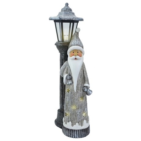 Fountasia Christmas Silver LED Street Lamp Santa (79144)