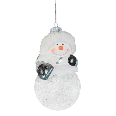Fountasia Christmas Tree Hanging Snowballs With Silver Snowman (78172)