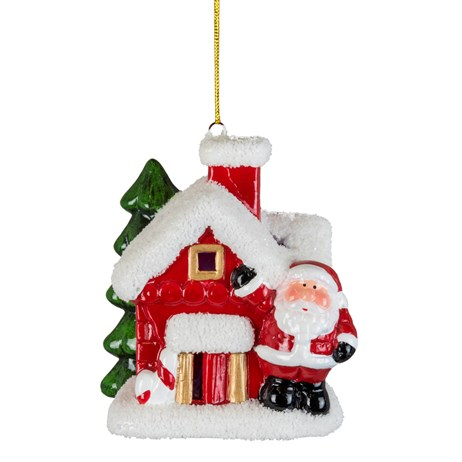 Fountasia Christmas Tree LED Hanging Red Houses Decoration - Santa (78177)
