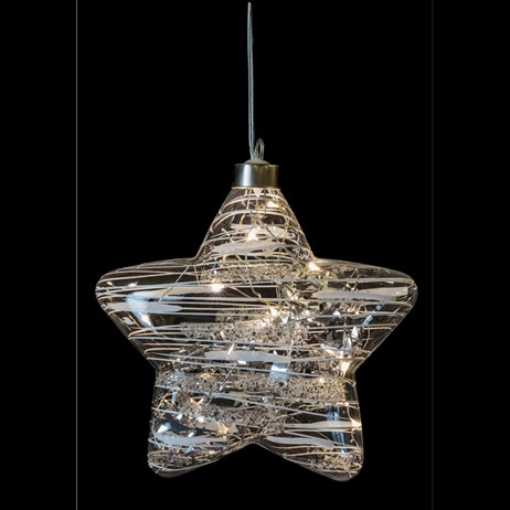 Fountasia Christmas Tree Glass Silver LED Magical Star Ornament - Large (77421)