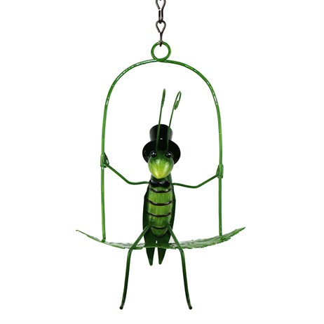 Fountasia Garden Ornament - Grasshopper On Swing (94422)