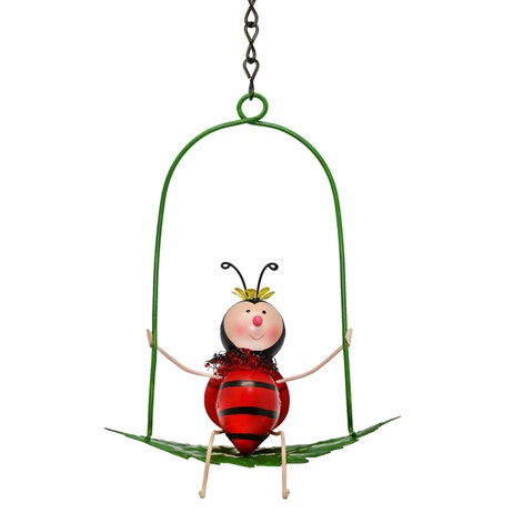 Fountasia Garden Ornament - Ladybird On Swing (94423)