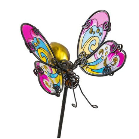 Fountasia Garden Stake - Glass Stake Butterfly - Pink/Yellow (35062)