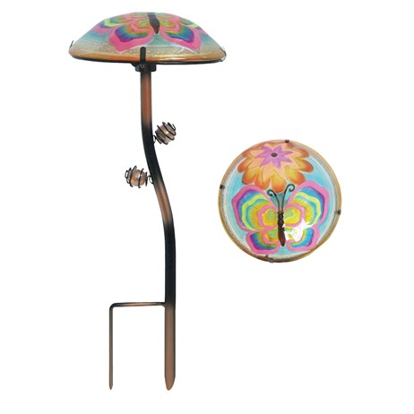 Fountasia Garden Stake - Glow-In-The-Dark - Glass Mushroom Stakes - Butterflys (35013)