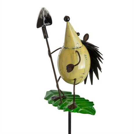 Fountasia Garden Stake - Hedgehog With Spade On Spring Leaf Stake (93961)