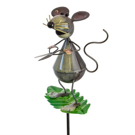 Fountasia Garden Stake - Mouse With Shears On Spring Leaf Stake (93960)