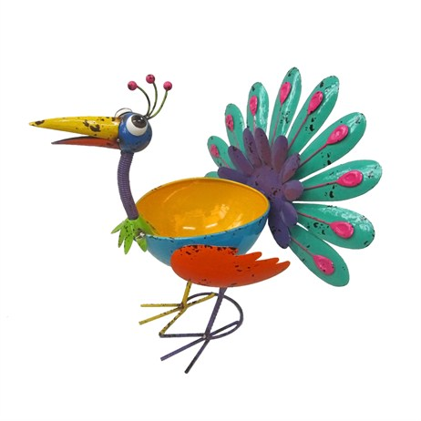 Fountasia Metal Planter - Pat The Peacock (68216)