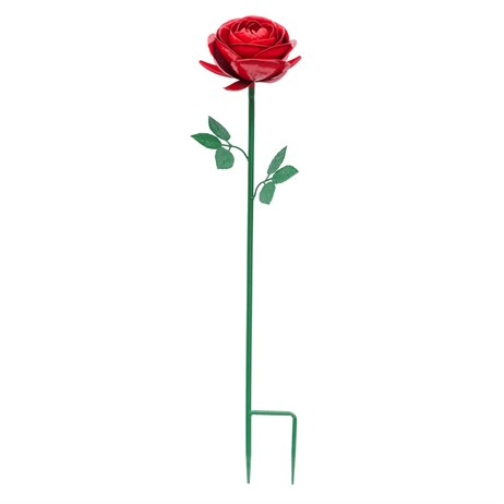Fountasia Metal - Rose Red Flower Stake - Small (52315)