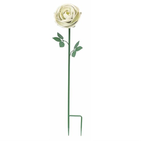 Fountasia Metal - Rose White Flower Stake - Medium (52319)