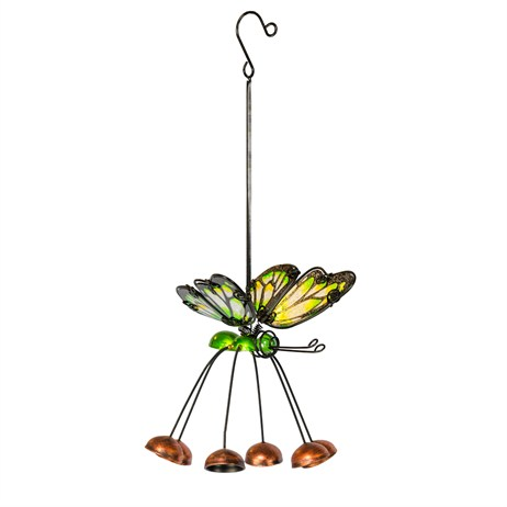 Fountasia Musical Ornament - Butterfly Hanging Bells 6 Legged - Green (35086)
