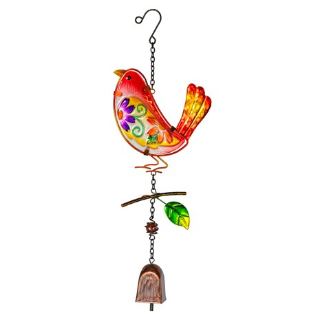 Fountasia Musical Ornament - Floral Bird Hanging Bells - Red (35084)