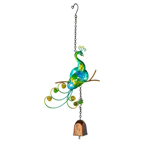 Fountasia Musical Ornament - Peacock Hanging Bells - Green (35252)