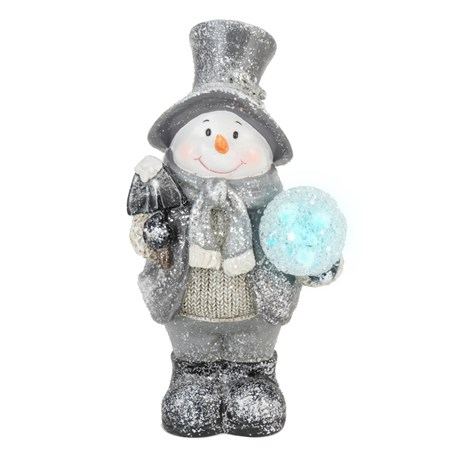 Fountasia Silver Snowman Holding LED Snowball - Battery Operated (79031)
