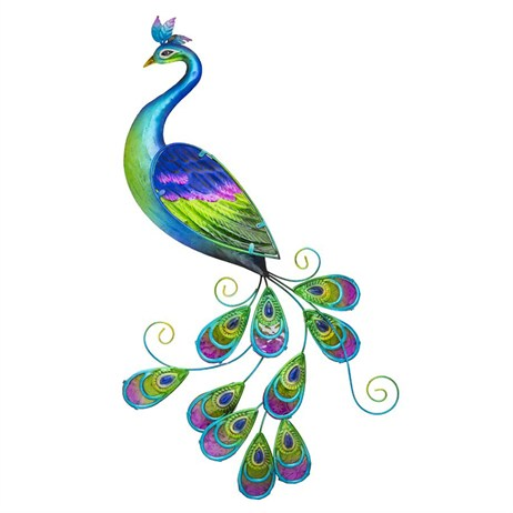 Fountasia Wall Art - Glass Peacock (35112)