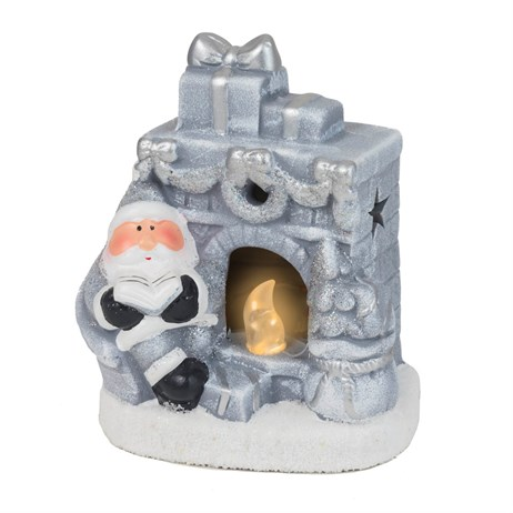 Fountasia Christmas Silver LED Fireplace Decoration (78156)