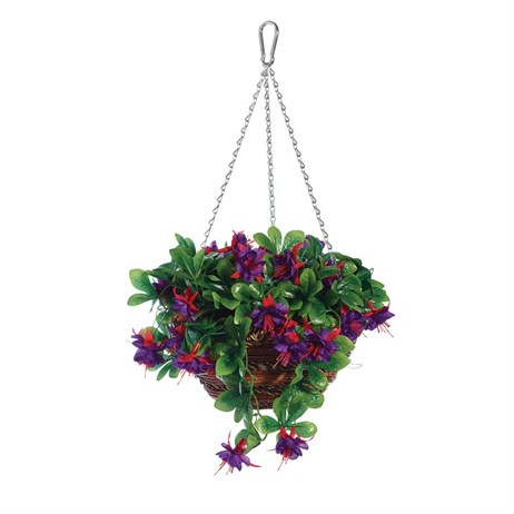 Gardman 12in Artificial Fuchsia Hanging Basket (02842)