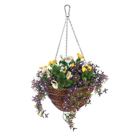 Gardman 12in Artificial Pansy & Lobelia Hanging Basket (02843)