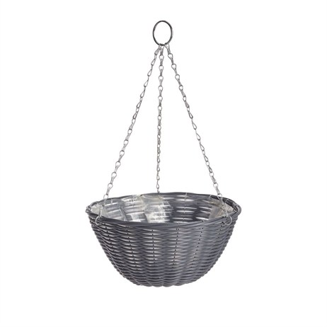 Gardman 35cm (14in) Rattan Effect Dark Grey Hanging Basket (02892)