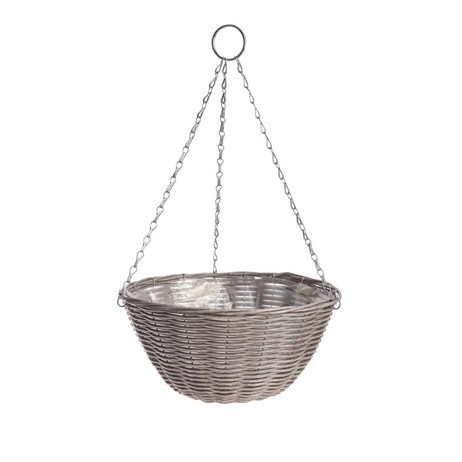 Gardman 35cm (14in) Rattan Effect Light Grey Hanging Basket (02890)