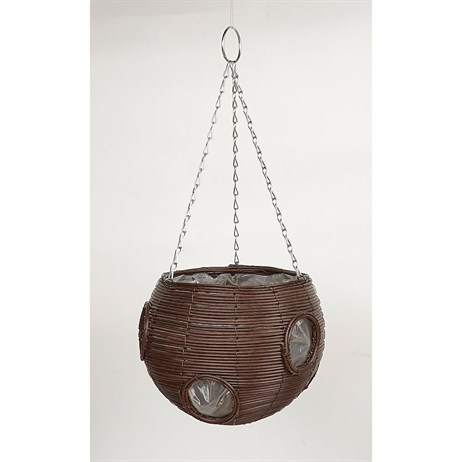 Gardman Faux Rattan Brown Ball Hanging Basket - 9' (02113)