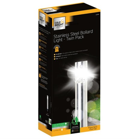 Gardman Stainless Steel Bollard Light - Twin Pack (L22112)